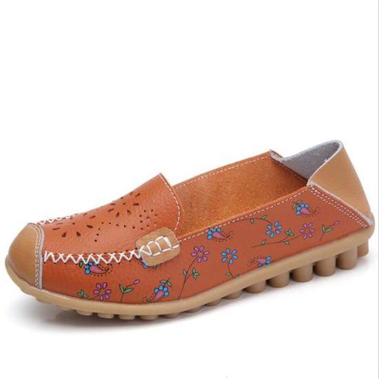 Mocassin Femmes Cuir Talon plat Marron Durable Chaussure YLG-XZ046Marron36 Marron Marron plat - Achat / Vente escarpin 0d0a3d