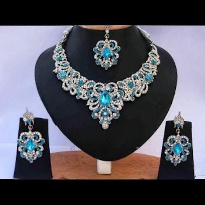 parure bijoux bleu mariage achat vente pas cher cdiscount. Black Bedroom Furniture Sets. Home Design Ideas