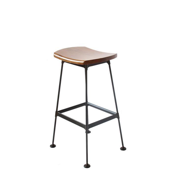 Tabouret métal et bois lounge Stork - Couleur - Noir vintage - Achat ...