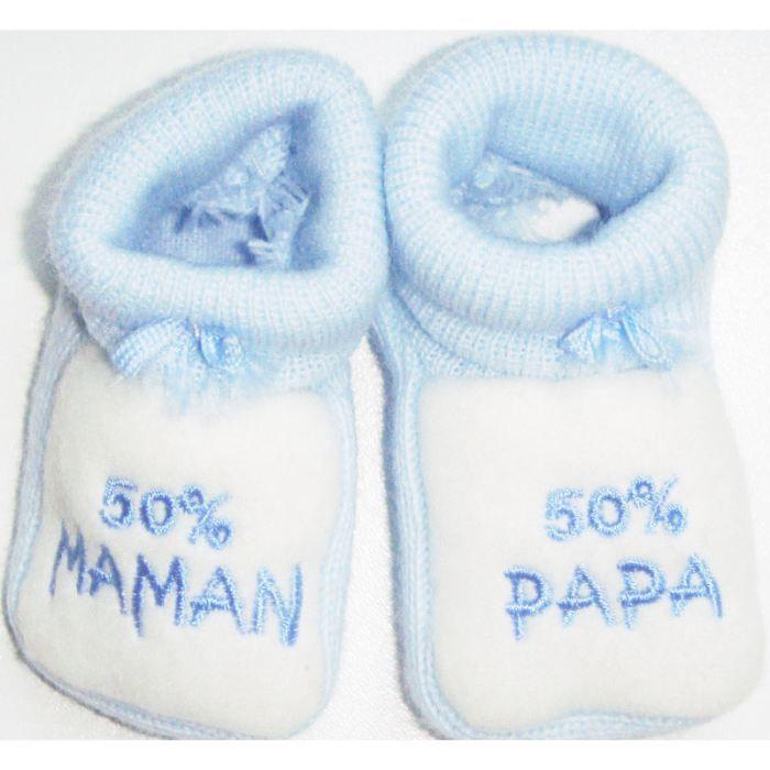 Chausson bébé 50% papa 50% mamanBleu jcuFxqNT8