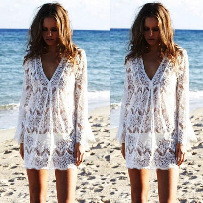 aa437a9661 Mini-robe de plage dentelle femme col V Blanc Blanc - Achat / Vente ...