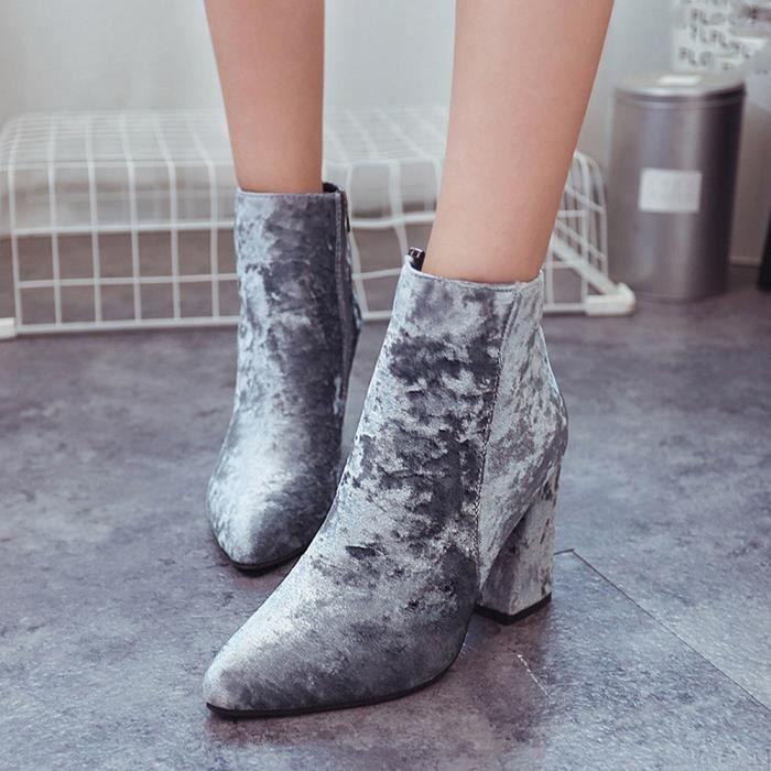deuxsuns®Femmes Dames Femelle Suede Faux Bottes Cheville Haute Talons Martin Pointu Chaussures