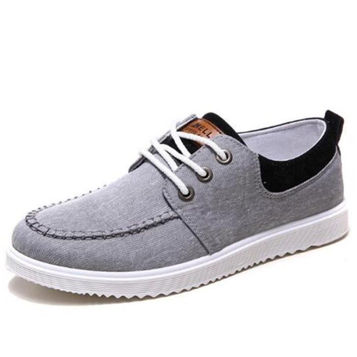 Chaussures En Toile Hommes Basses Quatre Saisons Populaire BXX-XZ115Gris40