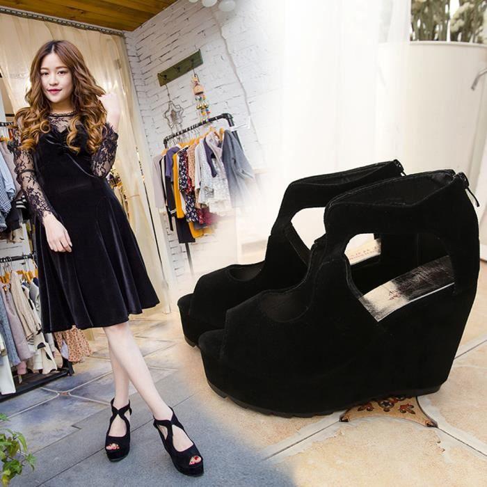 Toe Sjf71226733bk Femmes Peep Chaussures Strap Hauts Talons Ankle Wedges Mode q6tR44