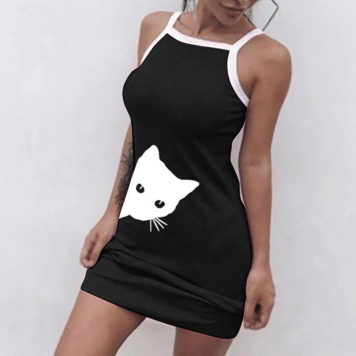 Mode D'été Gilet Femmes qun Imprimer Mini 814 Sexy Casual Robe Cat Slim Bracelet r50wr