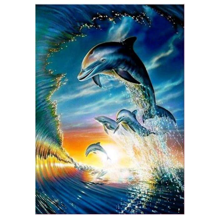 TABLEAU - TOILE 5D DIY Diamant Peinture Dolphin Images Point De Cr
