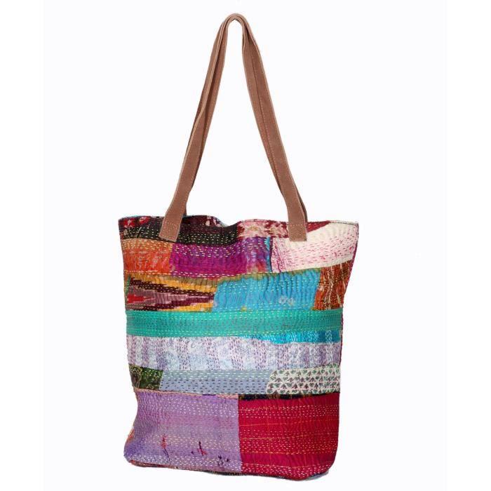 femmes vintage soie kantha travailler en cuir poignée sacs à bandoulière à la main EIRSR