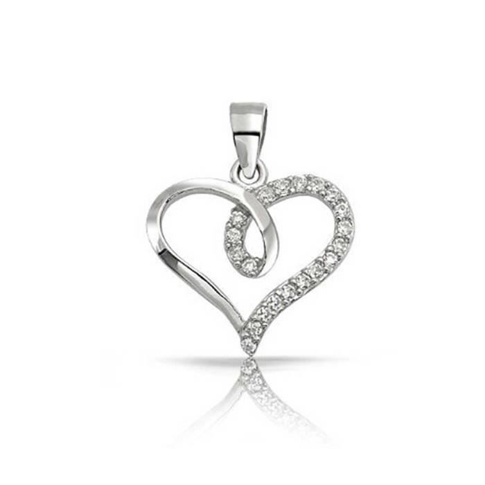 Argent 925 Bling Jewelry Ouvrir CZ Pendentif coeur ouvert ruban 18in