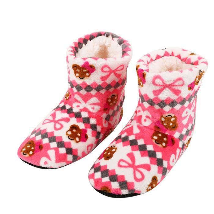 Femmes Dames Coton Chaud Pantoufles D'intérieur Doux Peluche Noël Chaussures Rose WE684