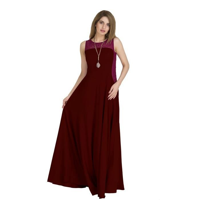 Womens Crepe Side Contouring Flared Maxi Dress (maroon,wine) IGEIP Taille-36