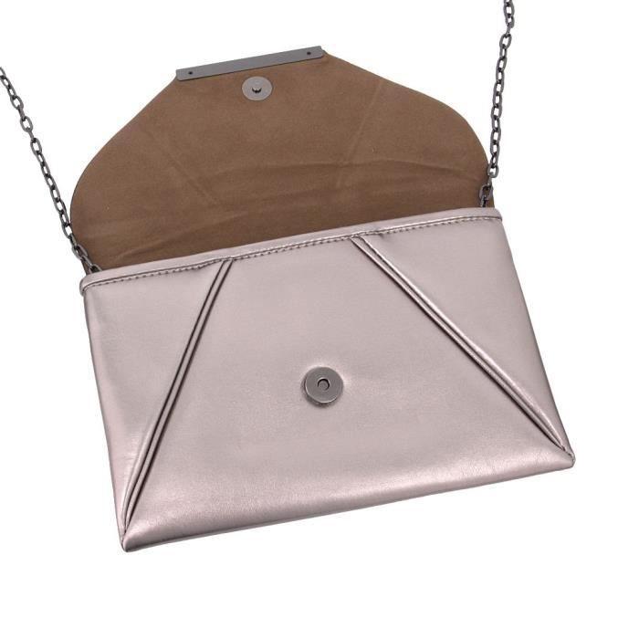 Mode Pu longue bourse Sac à bandoulière embrayage enveloppe sac de soirée VBT5D