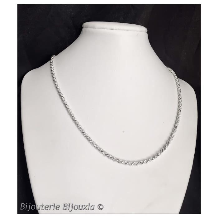 Chaîne maille Corde - 45CM- Argent massif 925/1000-Bijoux Femme