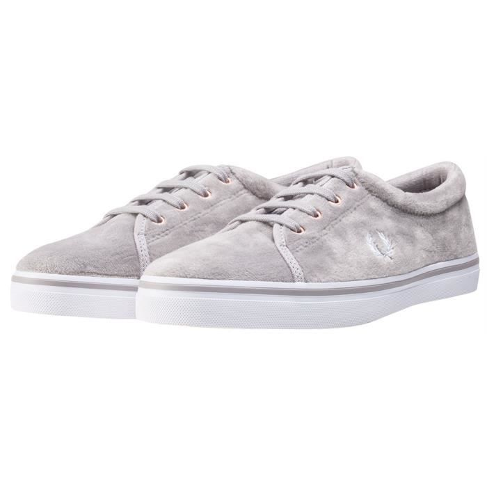 Fred Perry Aubyn Velour Femmes Baskets argent - 6 UK