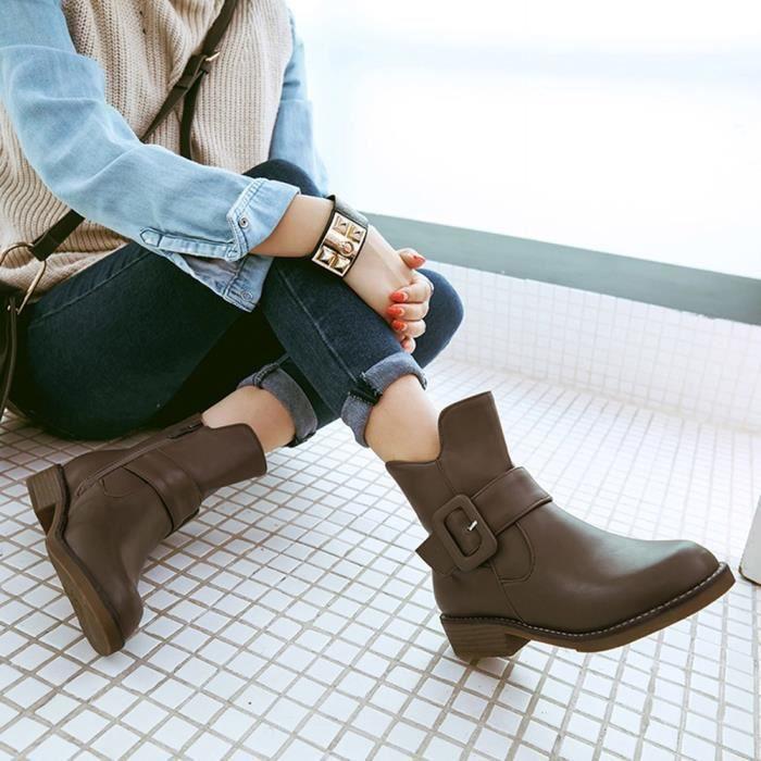 Femmes Shoes Solide Mode Ronde Rétro Martin Short Cuir Chaud Cheville En Toe vebegre2720 Bottes HrH7qnv