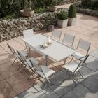 Table de jardin extensible aluminium-verre 90-180cm + 8 Chaises pliantes  textilène Gris argenté - BORA