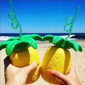 PAILLE Creative paille ananas tasse portable en plastique