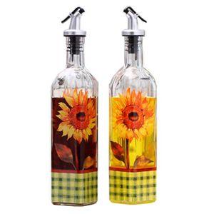 VINAIGRETTE 2PCS Belle huile Verre Bouteille Vinaigre Bouteill