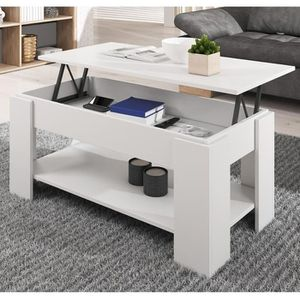 TABLE BASSE Table basse relevable Nicoleta blanche