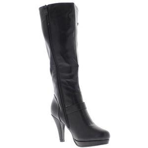 Bottes femme noires à talon fins de 9,5cm look daim avec bride large et anneau strass - Couleur:Noir Pointure:4