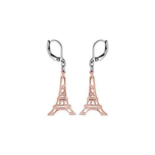 Boucles doreille acier et PVD rose crochet tour E
