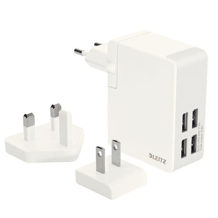 LEITZ - Chargeur secteur de voyage - 4 ports USB 24W