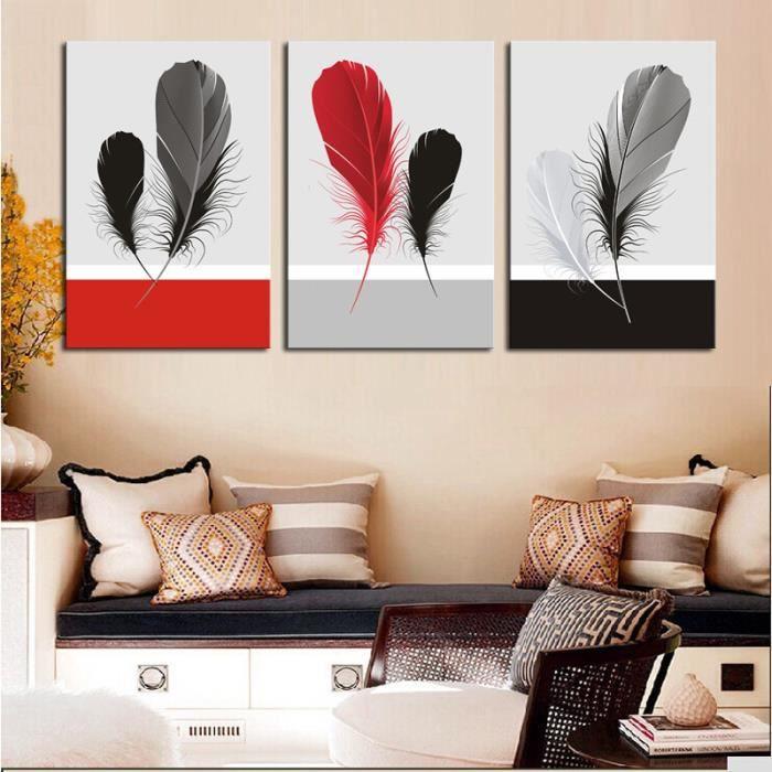 Tableau Decoration Salon Rouge Et Gris Achat Vente Pas Cher