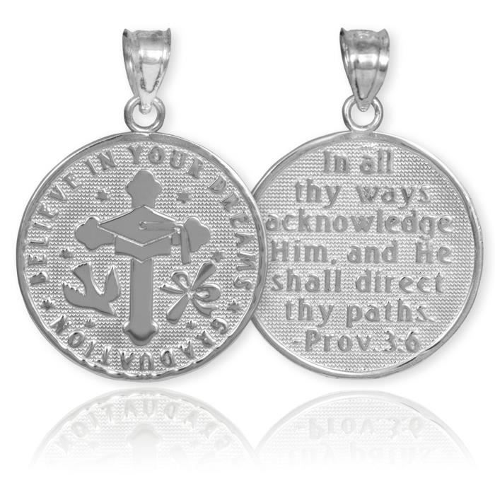 Pendentif 10 ct Or Blanc 471/1000 Graduation médaillon