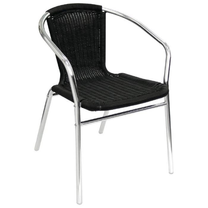 Aluminium Bolero Et Des Chaises En Osier Noir Lot De 4