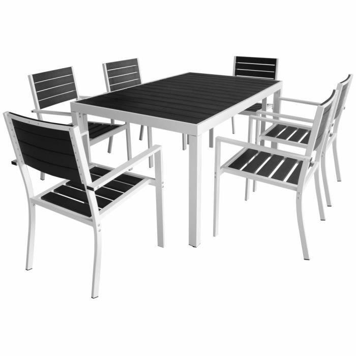 7 pcs Salon de Jardin Aluminium WPC Mobilier d\'extérieur 1 Table + 6 ...