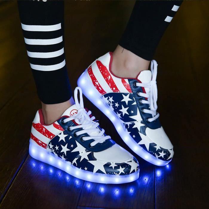 7 Prom toile Couleur Sneakers Changement De Chaussures Unisexe Avec Usb Clignotant Party Motif Pour D'clairage Blanc Led 6qwrxS65