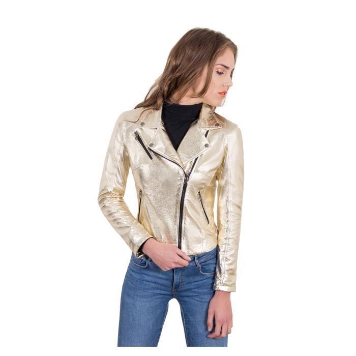 KBC couleur or veste en cuir femme perfecto cuir laminé aspect lisse ... f9613d168908