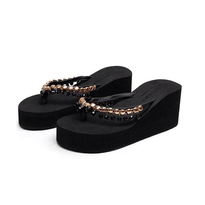 Tongs Femme Sandales été Flip Flops 2017 nouveau style - Noir ypgaa
