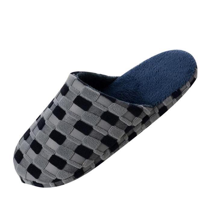 Pantoufle Homme Hiver Meilleure QualitÉ Ultra Confortable Chaud Doux Coton D'intÉRieur ZX-x021gris-45