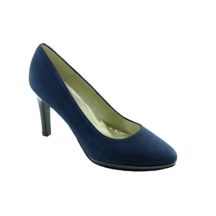 Tabatha – Escarpins à plateforme chaussures tendances femme petites pointures tailles marque Angelina Daim & Vernis bleu marine