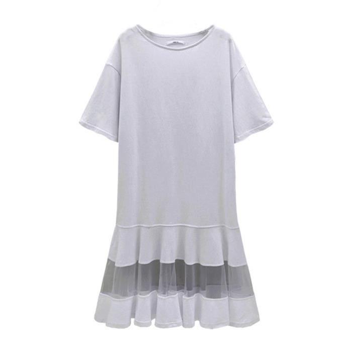 robe des femmes solides manches courtes maille volantée robe douce tache de taille plus