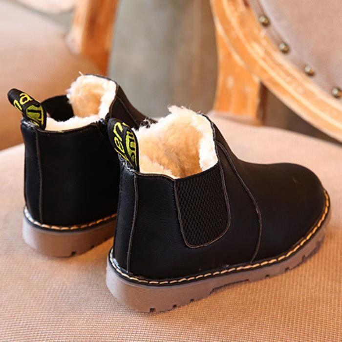 BOTTE Enfants Garçons Filles D'hiver Neige Chaud Bottines Zipper Enfant Chelsea Chaussures@NoirHM