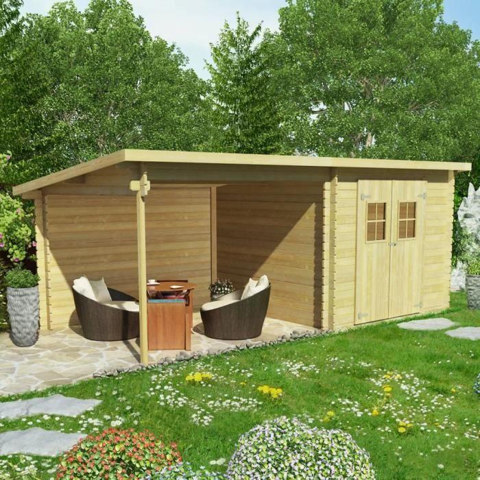 Cabanon de jardin en rondins Bois massif 28 mm, 6,3 x 3 m Abri de ...