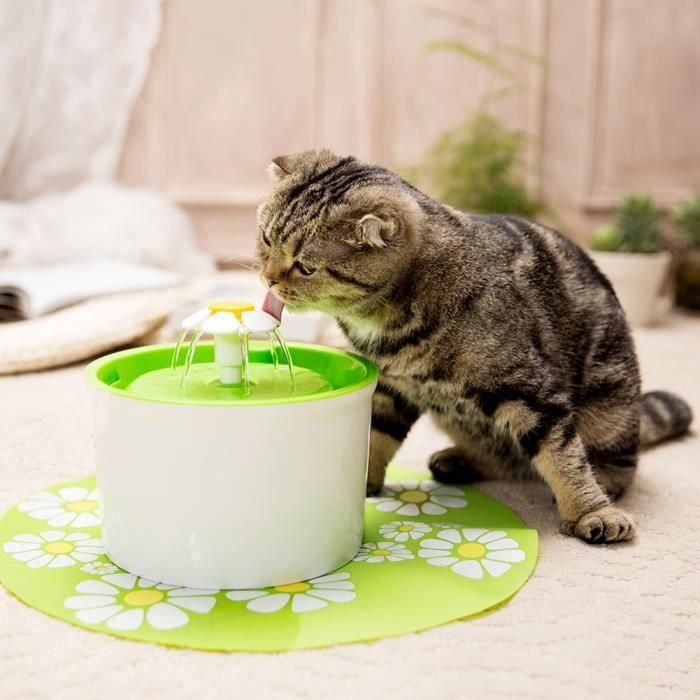 1.6l Fontaine À Eau De Chat Boire Fleur Électrique Animaux Vert Pet Water Fountain Drinking Bowl (vert)