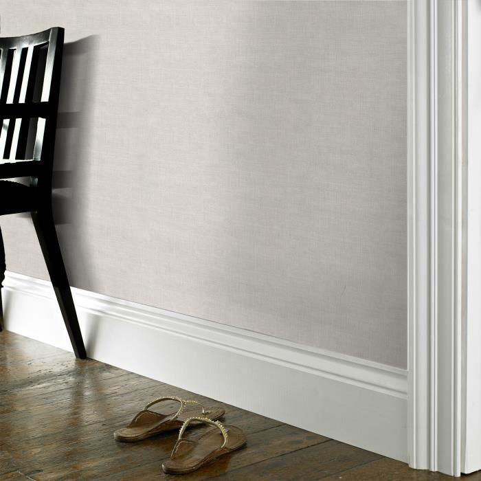 WOW - Lin Uni - Blanc/Gris - Papier Peint Intissé - 10m x 52cm ...