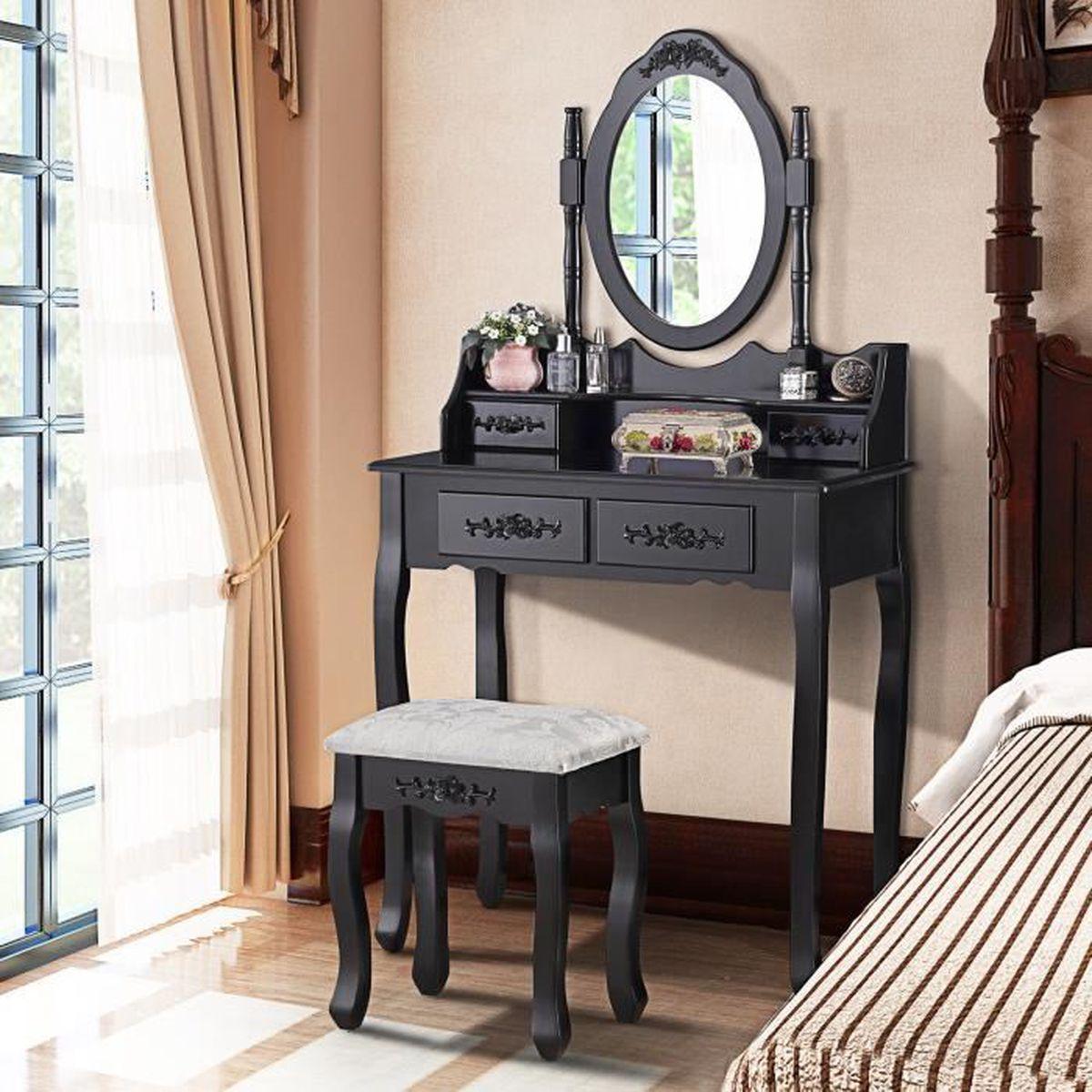 UBonheur Coiffeuse Table de Maquillage avec Tabouret 4 ...