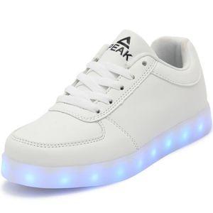 PEAK® Mode Flyknit Chaussure Enfant 7 Couleur LED Lumineux Chaussures Fille S3djVz