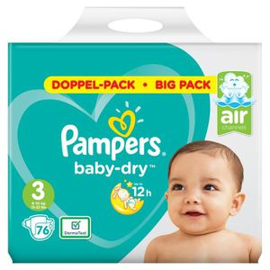 COUCHE  Pampers Baby Dry Taille 3 Midi 6-10kg 76 Couches