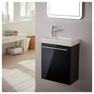 LAVABO - VASQUE Ensemble meuble lave mains noir + lave mains céram
