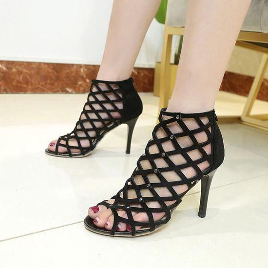 Napoulen®mode Femmes Peep Toe talons sandales hauts rivet romain gladiateur sandales talons Noir-XPP71229735BK Noir Noir - Achat / Vente escarpin 86a95e
