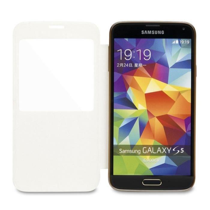 WE Coque de protection pour Galaxy S5 - Bi-matière PU et PC - Blanc