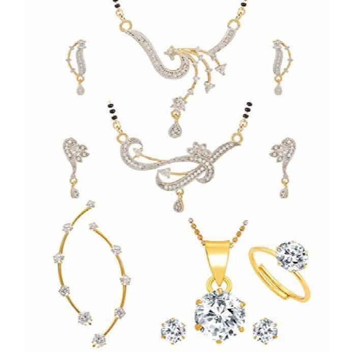 2 galsutra plaqué or blanc de femmes boucles doreilles, 1 Ruby earcuff, 1 Pendentif boucles doreilles - Combo O KXG9D