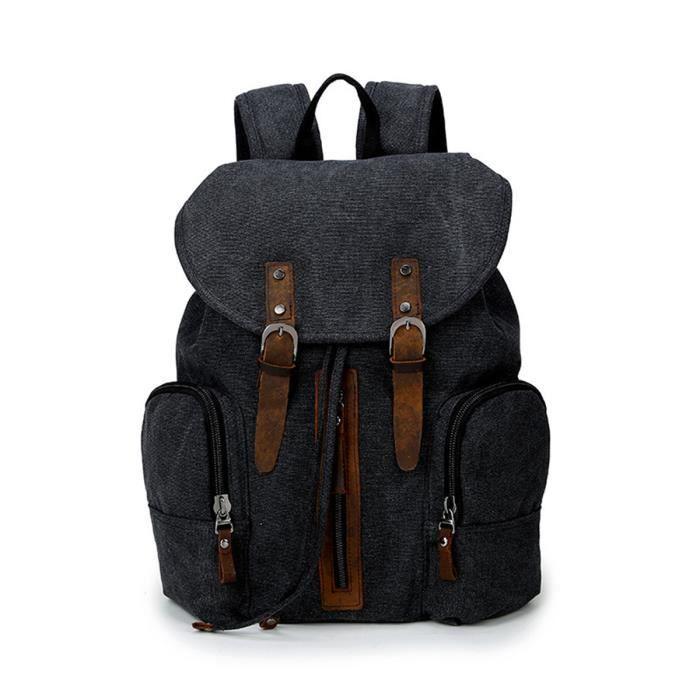 Nouveau Mode Femmes Hommes Canvas Backpack Voyage sac à dos bleu foncé