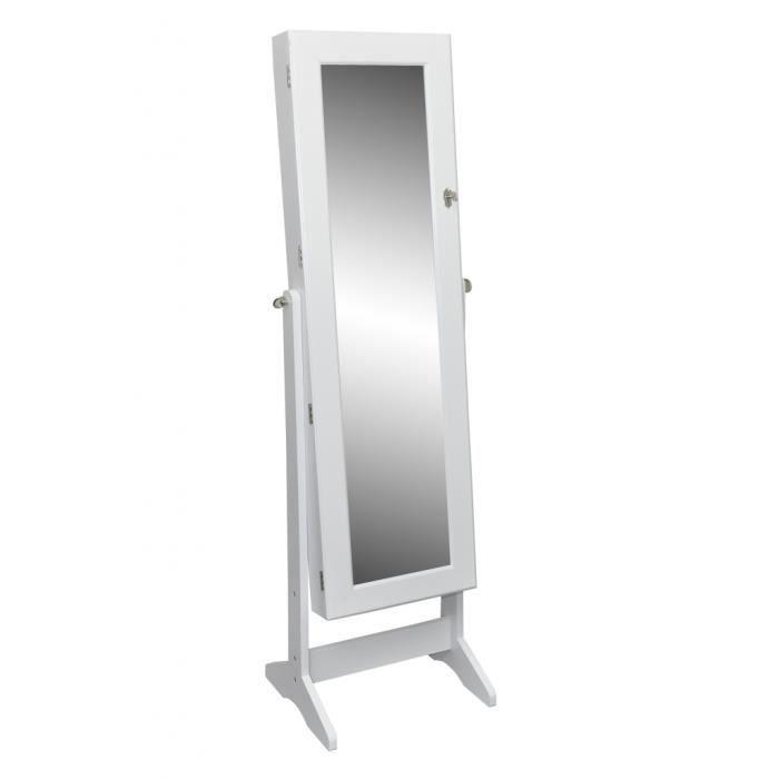 Armoire bijoux blanche sur pied avec miroir psyc achat - Miroir sur pied but ...