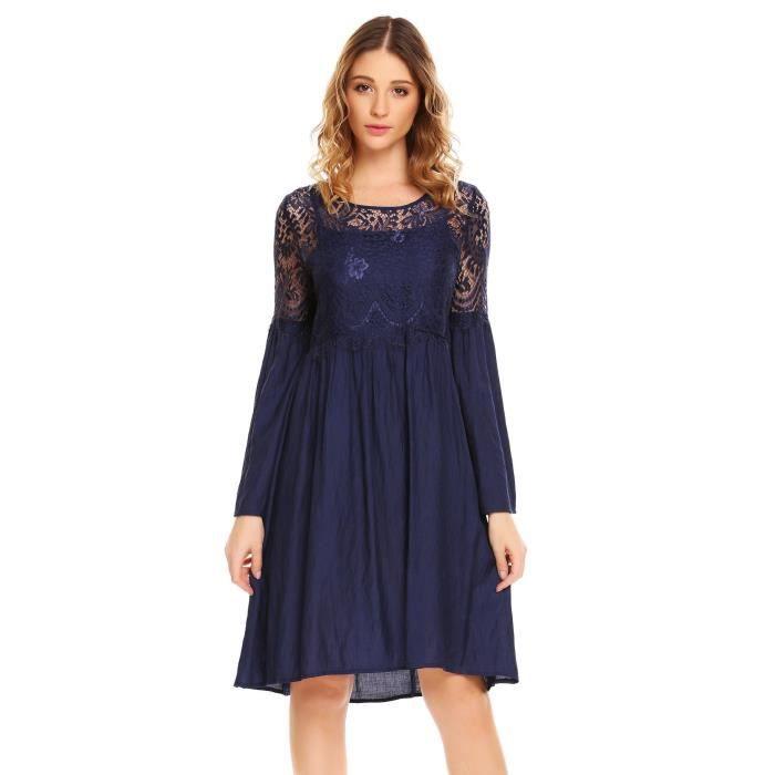 Femmes robe en dentelle O-cou à manches longues patchwork drapé décontracté