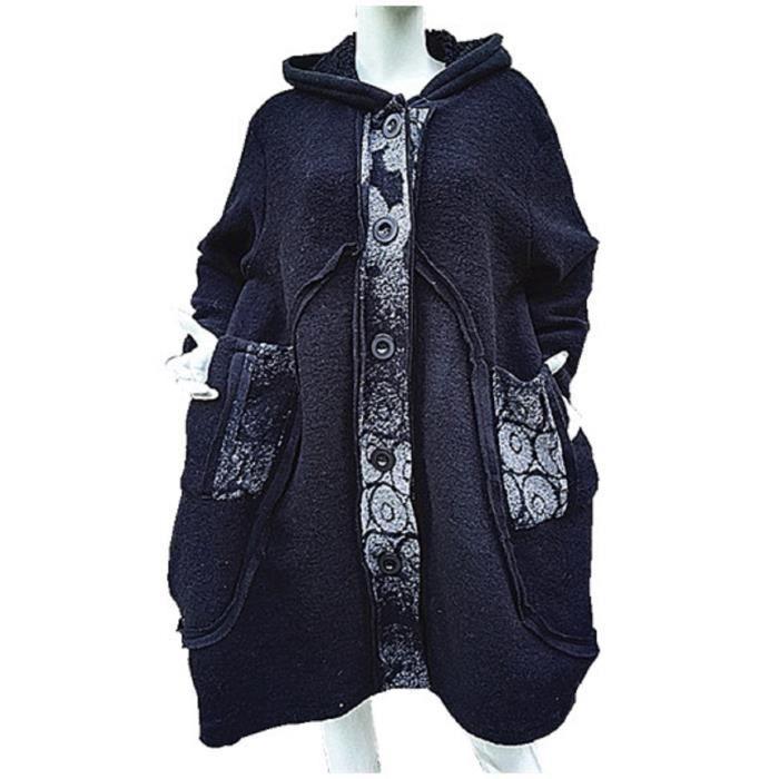 Manteau Femme Laine 100% Grande taille unique 44 46 48 50 veste blouson  chaud Ample NOIR 4ff1d6ea40ff